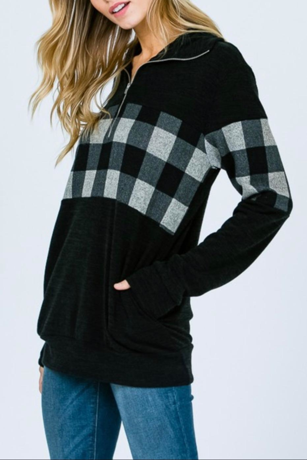 7th Ray Plaid Zip-Up Sweater - Side Cropped Image