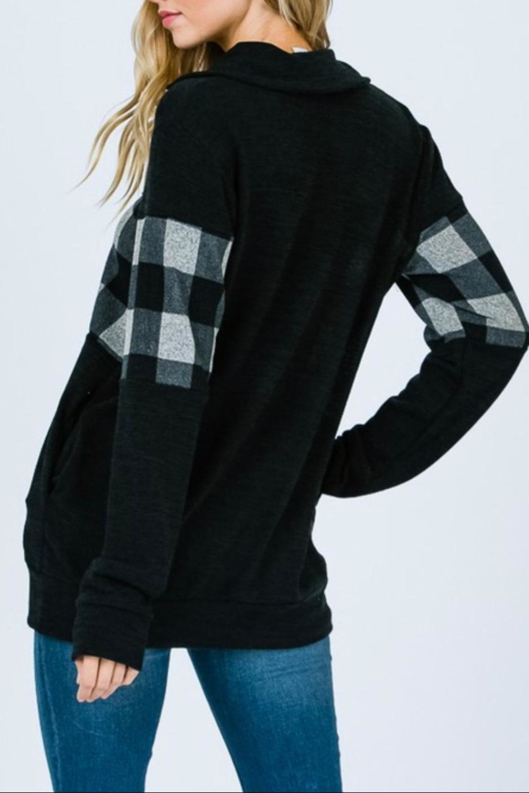 7th Ray Plaid Zip-Up Sweater - Front Full Image