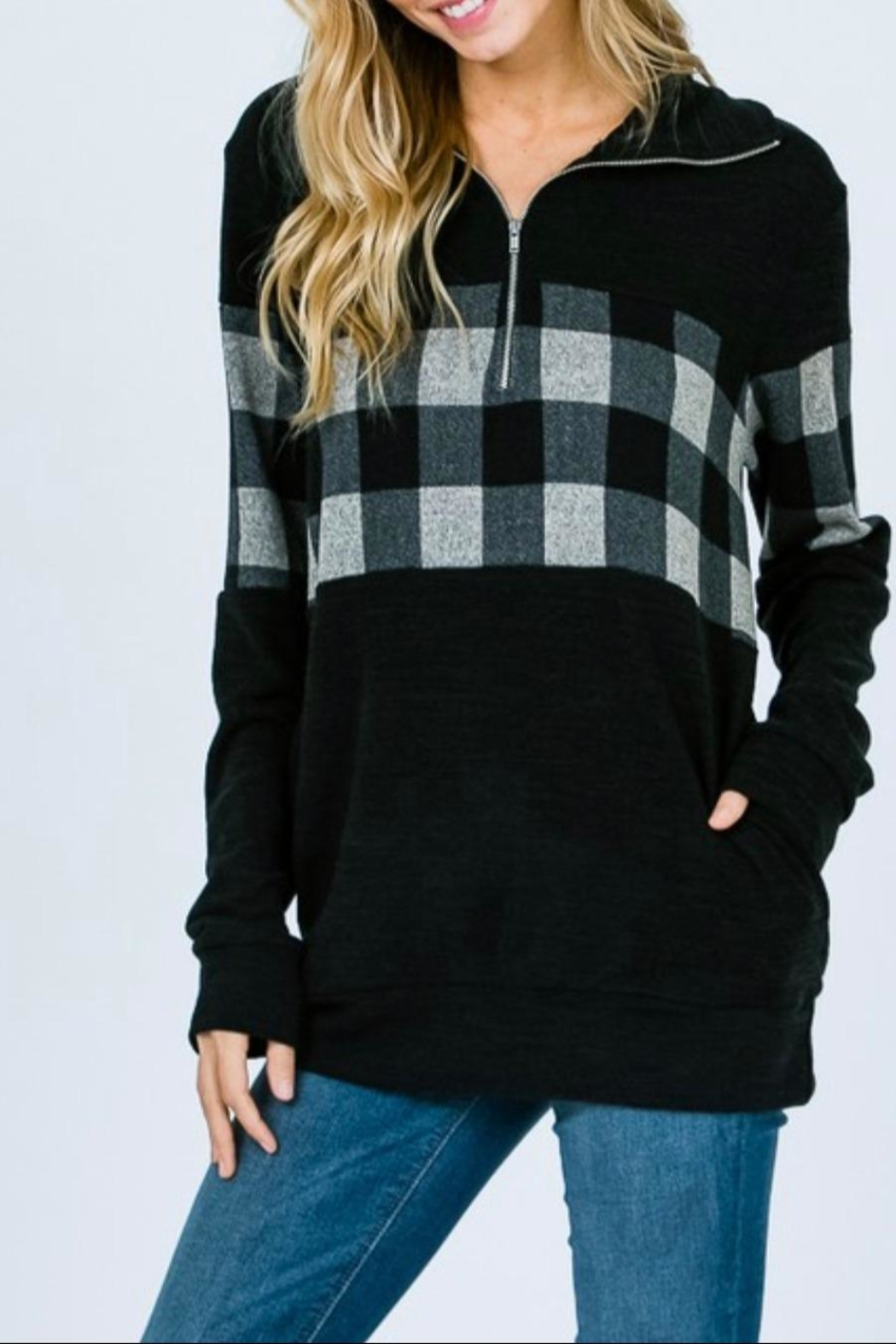 7th Ray Plaid Zip-Up Sweater - Main Image