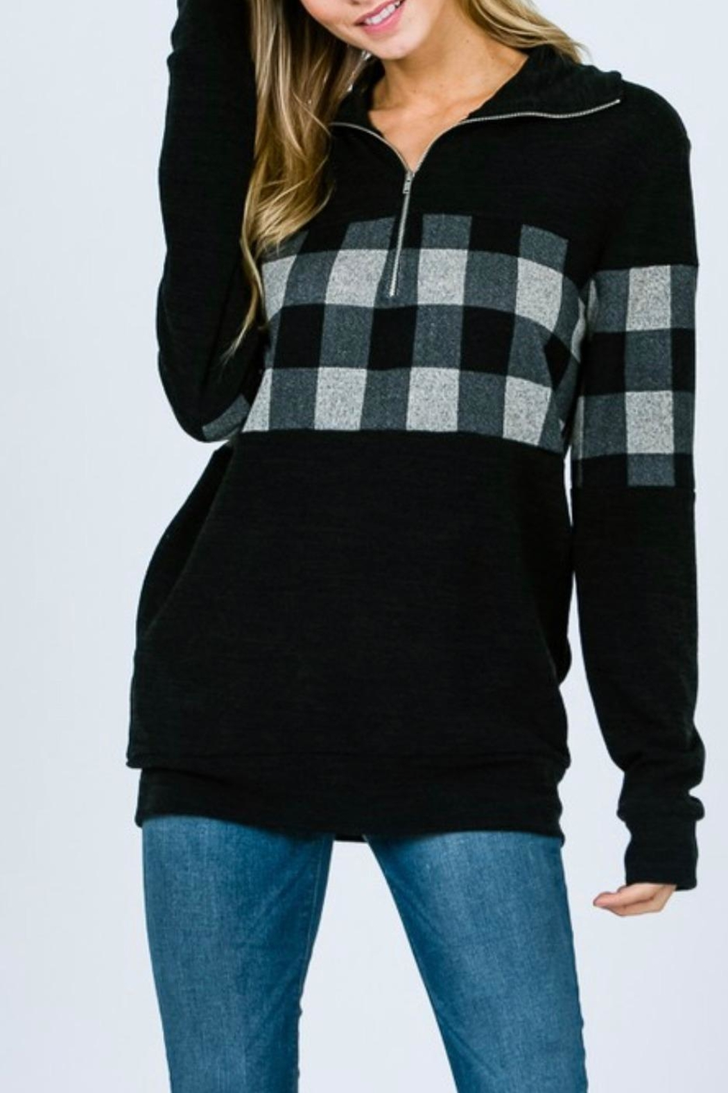 7th Ray Plaid Zip-Up Sweater - Back Cropped Image
