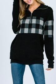 7th Ray Plaid Zip-Up Sweater - Back cropped