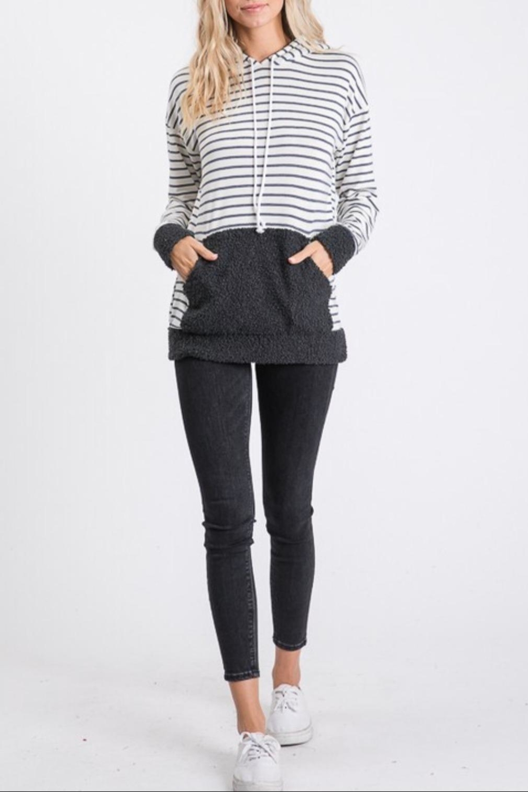7th Ray Stripe Hooded Sweater - Side Cropped Image