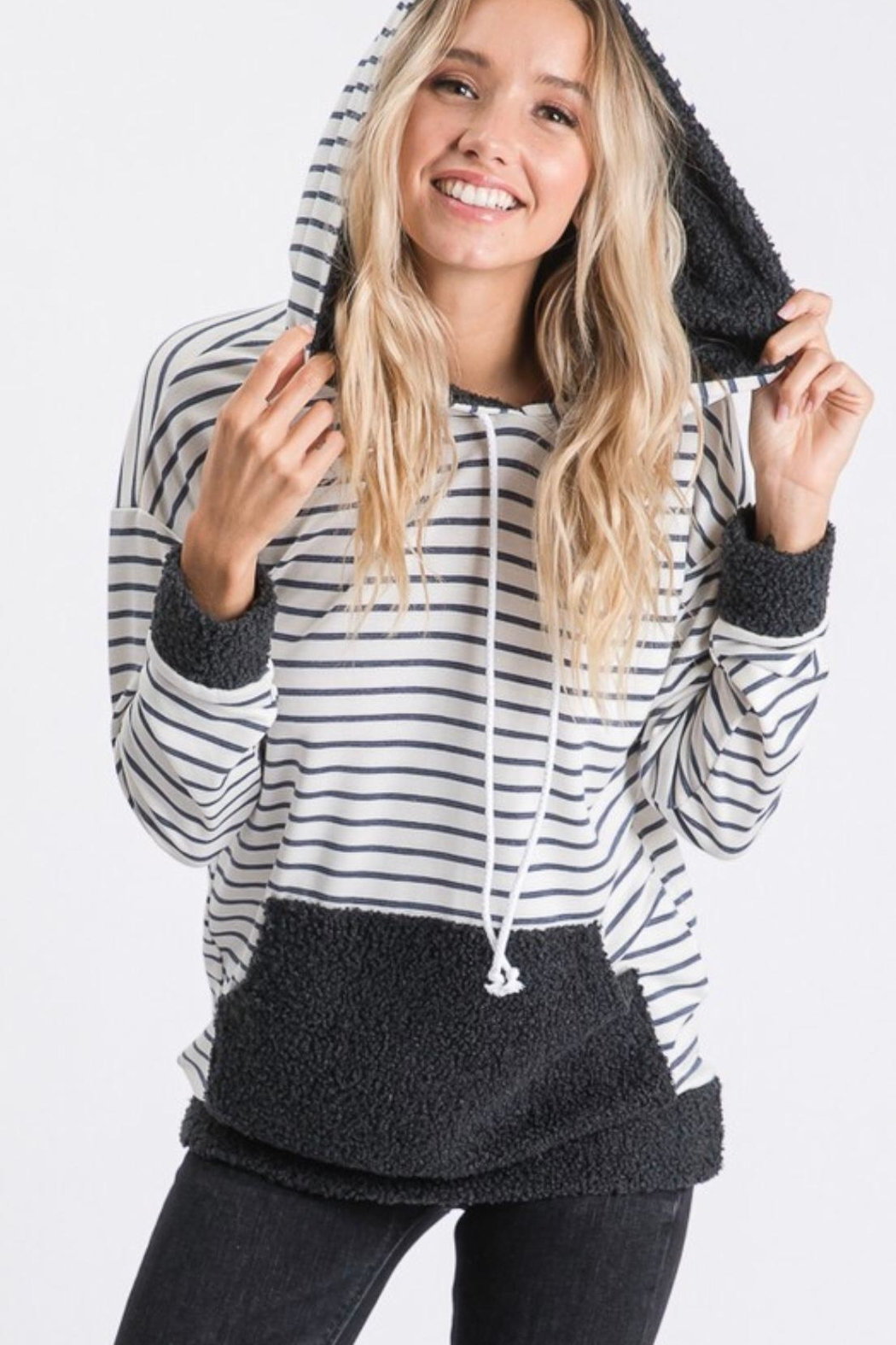7th Ray Stripe Hooded Sweater - Back Cropped Image