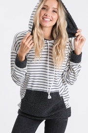 7th Ray Stripe Hooded Sweater - Back cropped
