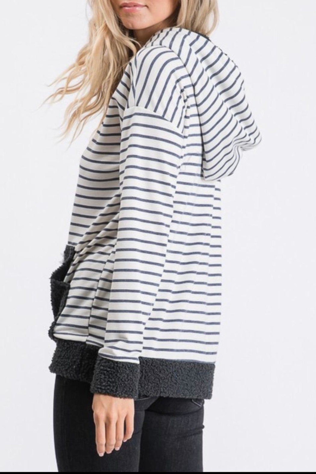 7th Ray Stripe Hooded Sweater - Front Full Image