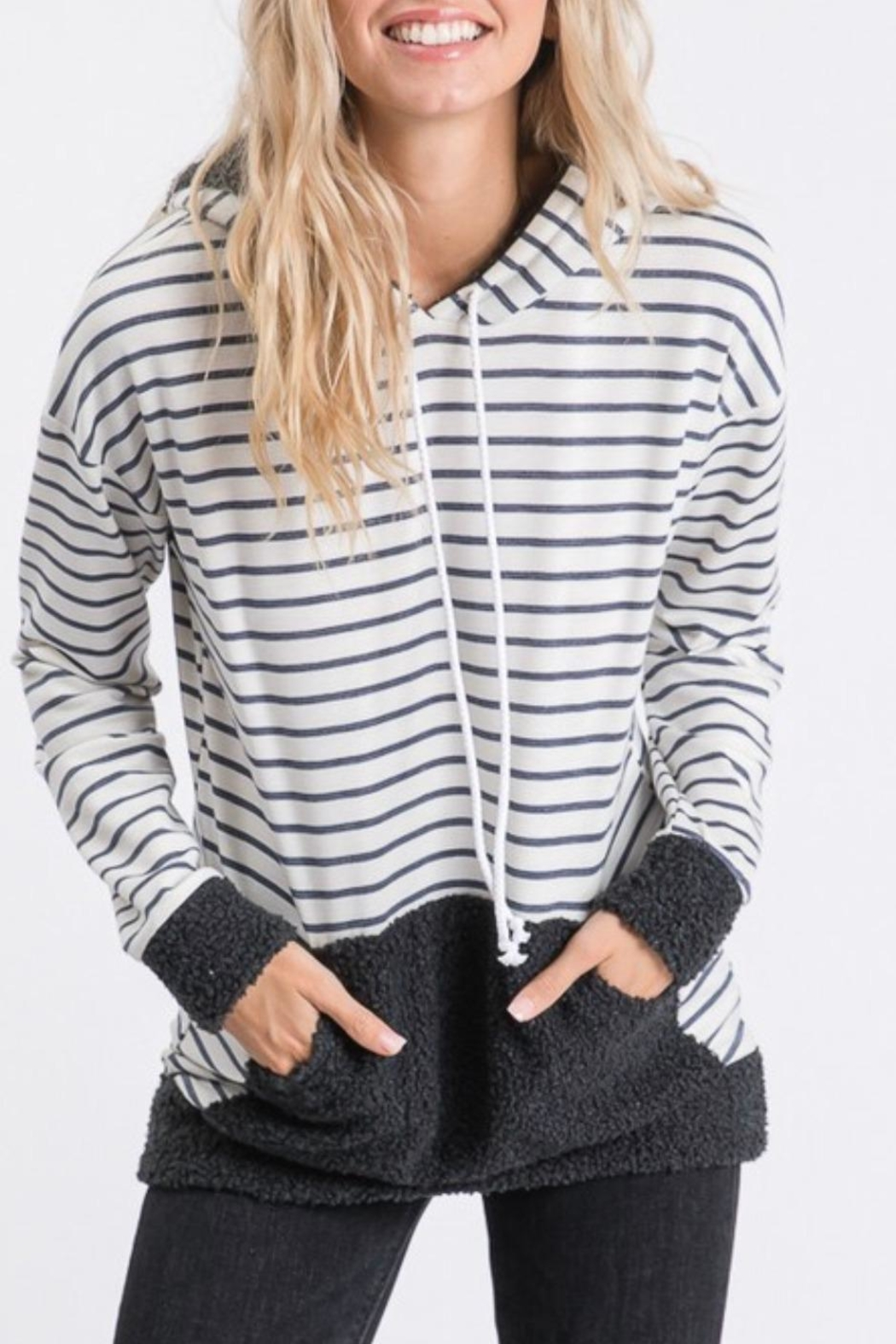 7th Ray Stripe Hooded Sweater - Main Image
