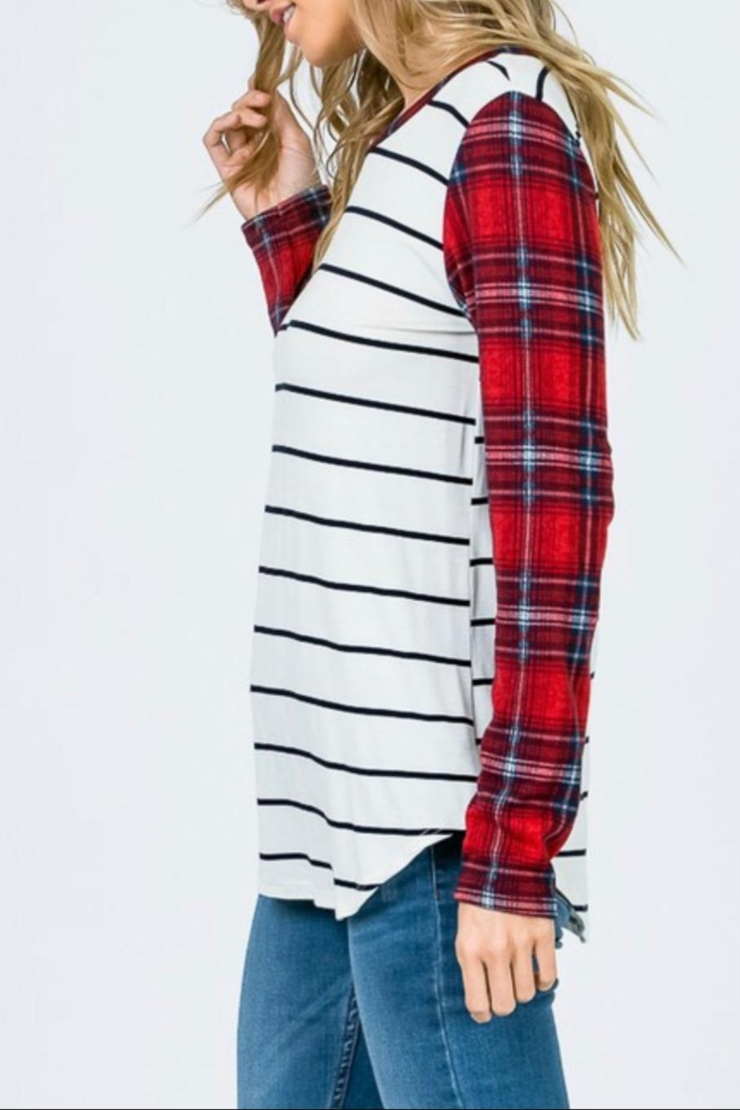 7th Ray Striped Plaid Shirt - Front Full Image