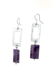 Shoptiques Product: Amethyst Rectangle Earrings