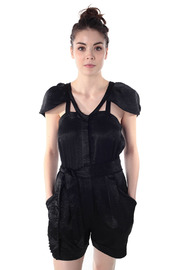 Shoptiques Product: Short Black Silk Jumpsuit