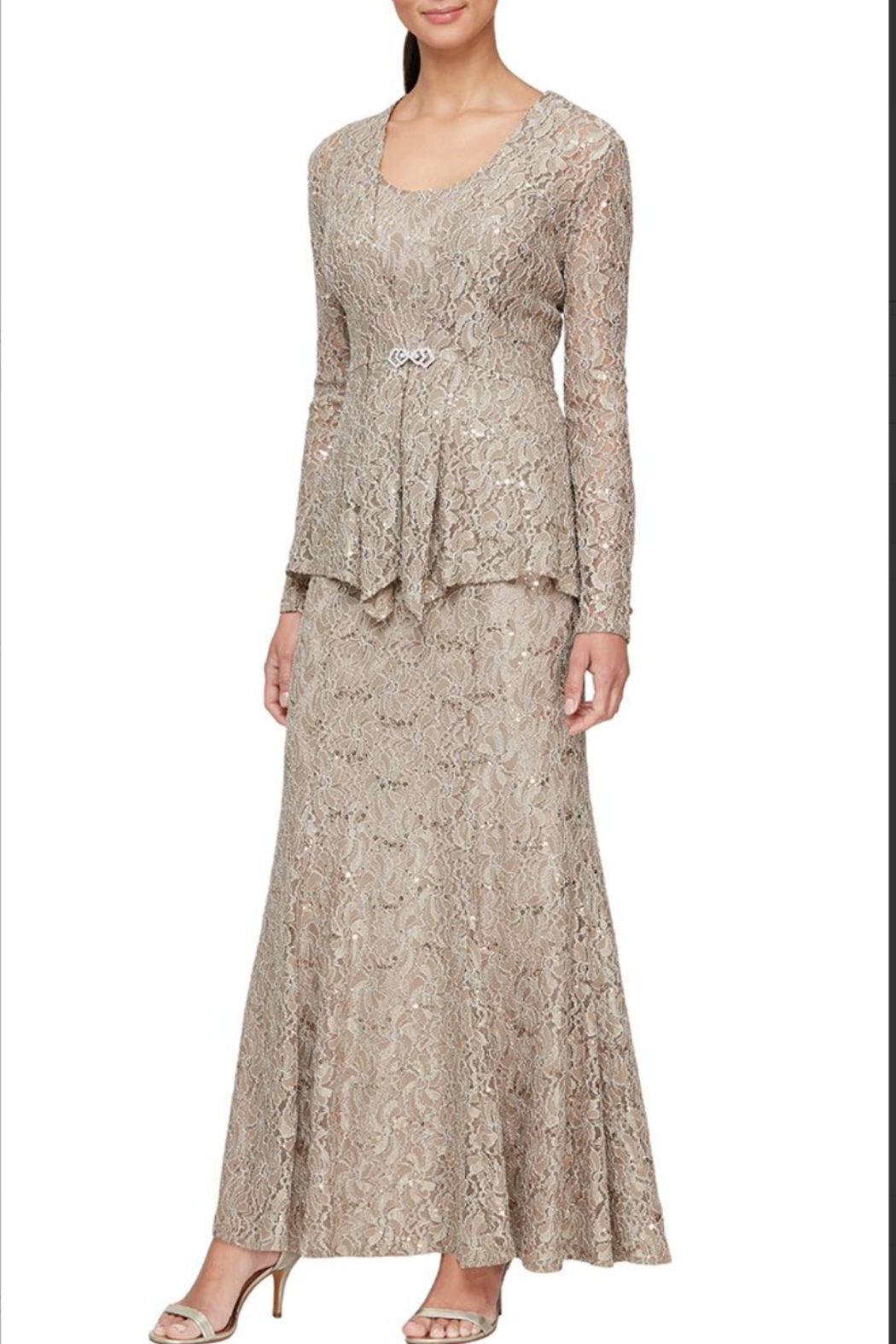Alex Evenings 81122452 - LONG FIT AND FLARE LACE JACKET DRESS - Main Image