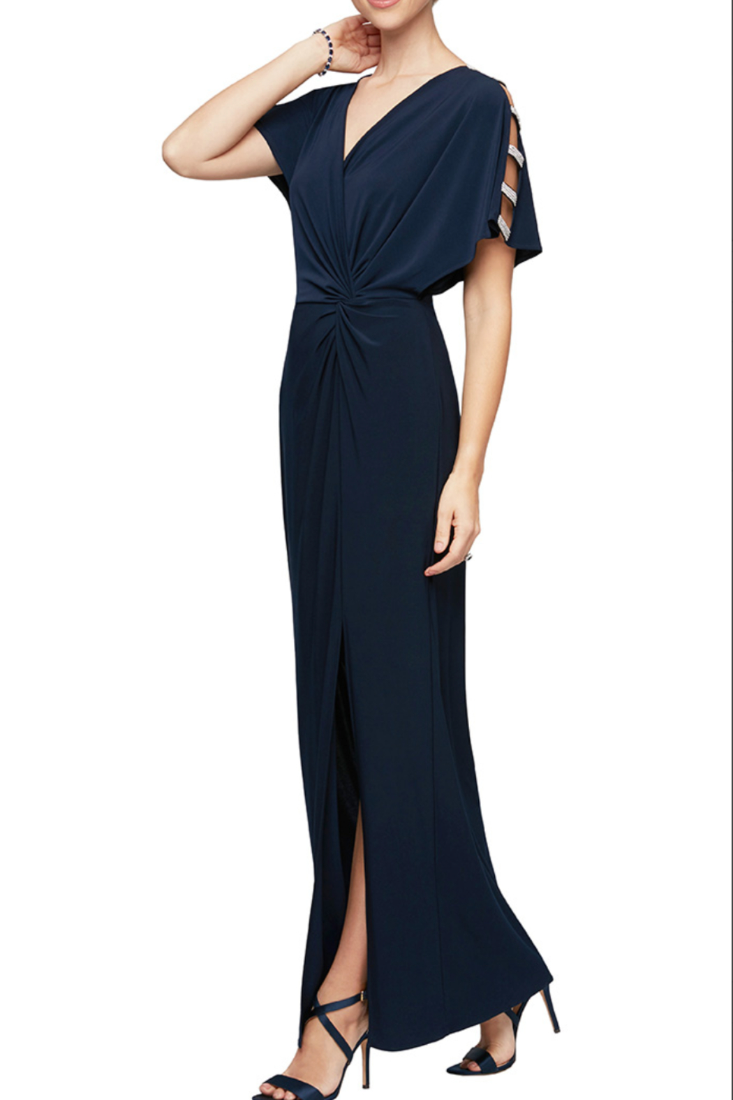 Alex Evenings 81351544 - LONG KNOT FRONT DRESS - Front Cropped Image