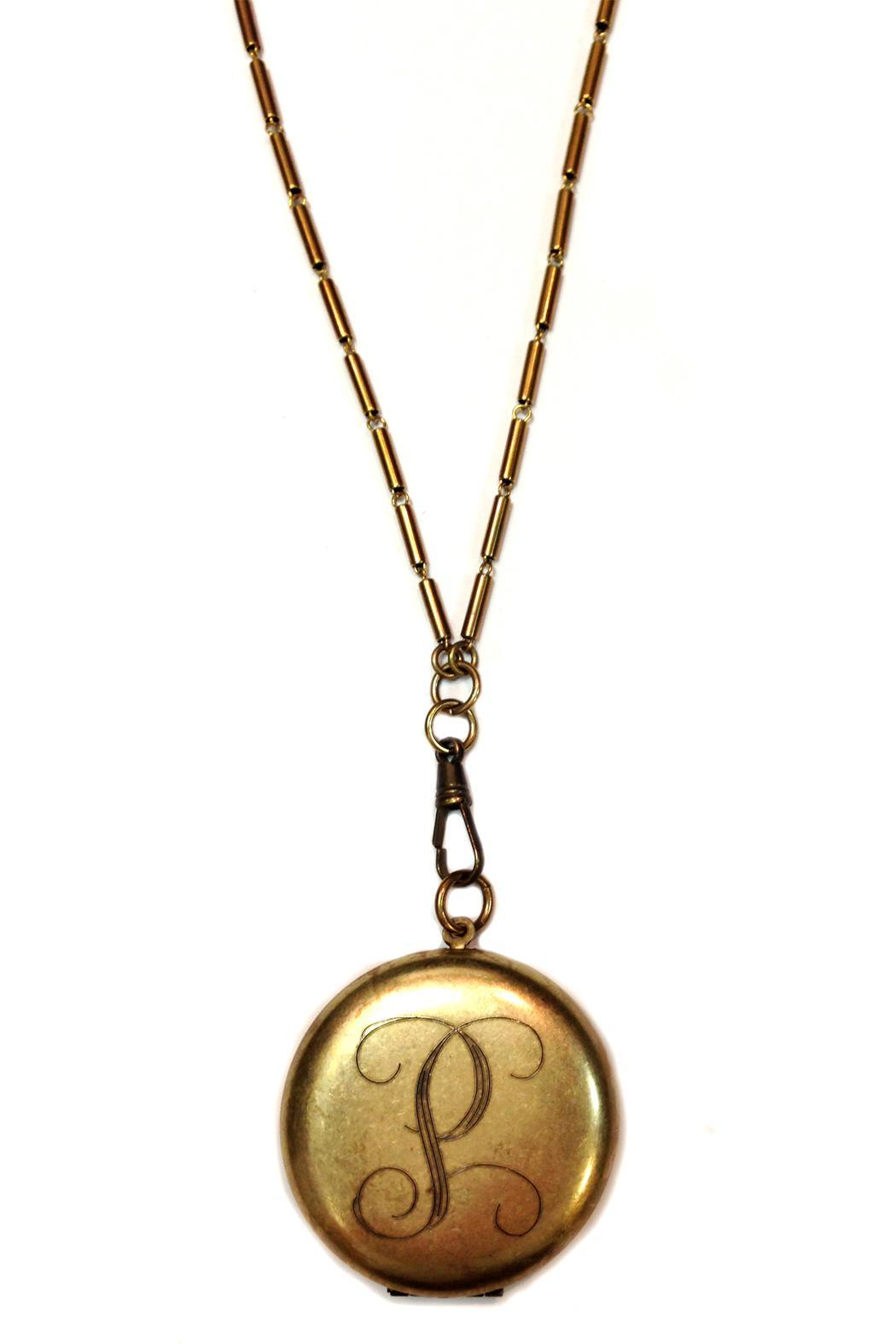 Top Shelf Jewelry Initial Locket - Front Cropped Image