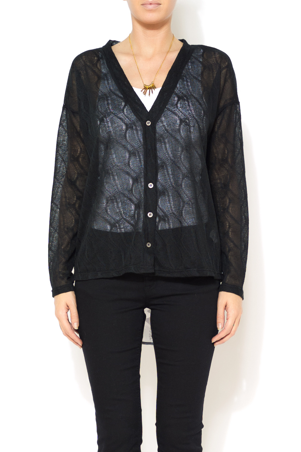 A'reve Sheer Garden Cardi - Front Cropped Image