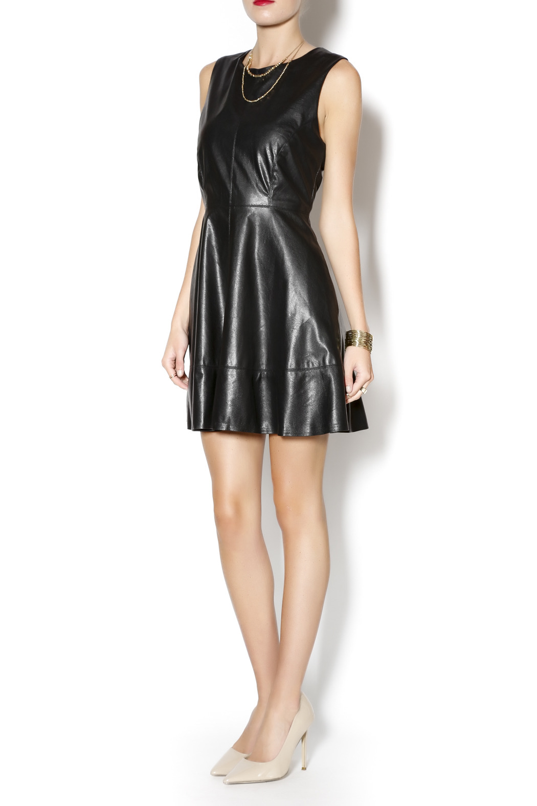 Willow & Clay Faux Leather Dress - Front Full Image