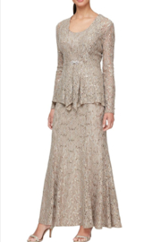 Alex Evenings 84122452 - LONG FIT AND FLARE LACE JACKET DRESS - Product Mini Image