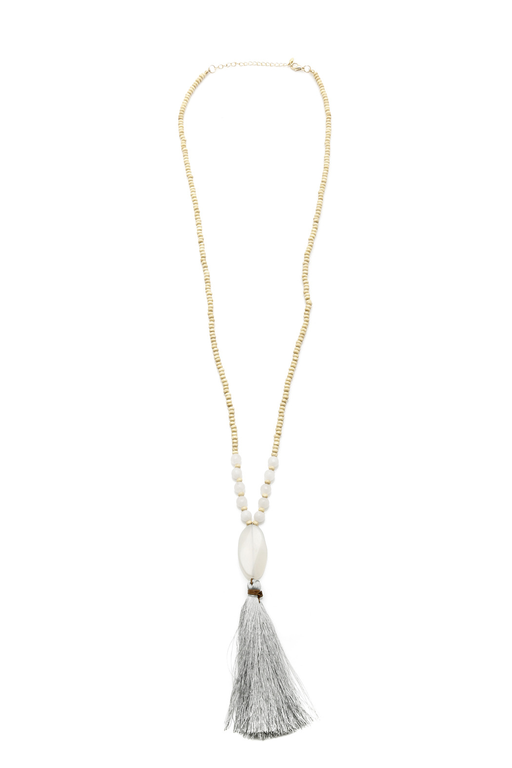Jewels By Joanne Long Wood Tassel Necklace - Front Cropped Image