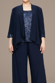 Alex Evenings 8496681 -3/4 SLEEVE TWINSET WITH OPEN CASCADE RUFFLE JACKET AND SCOOP NECK SEQUIN TANK - Product Mini Image
