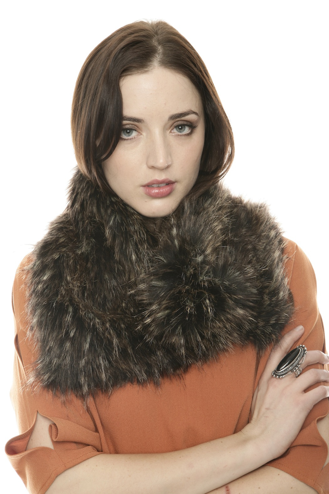 Moore & Moore Asymetrical Fur Scarf - Front Full Image