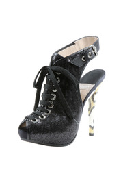 Baldan Lace Up Peep Toe Bootie - Front cropped