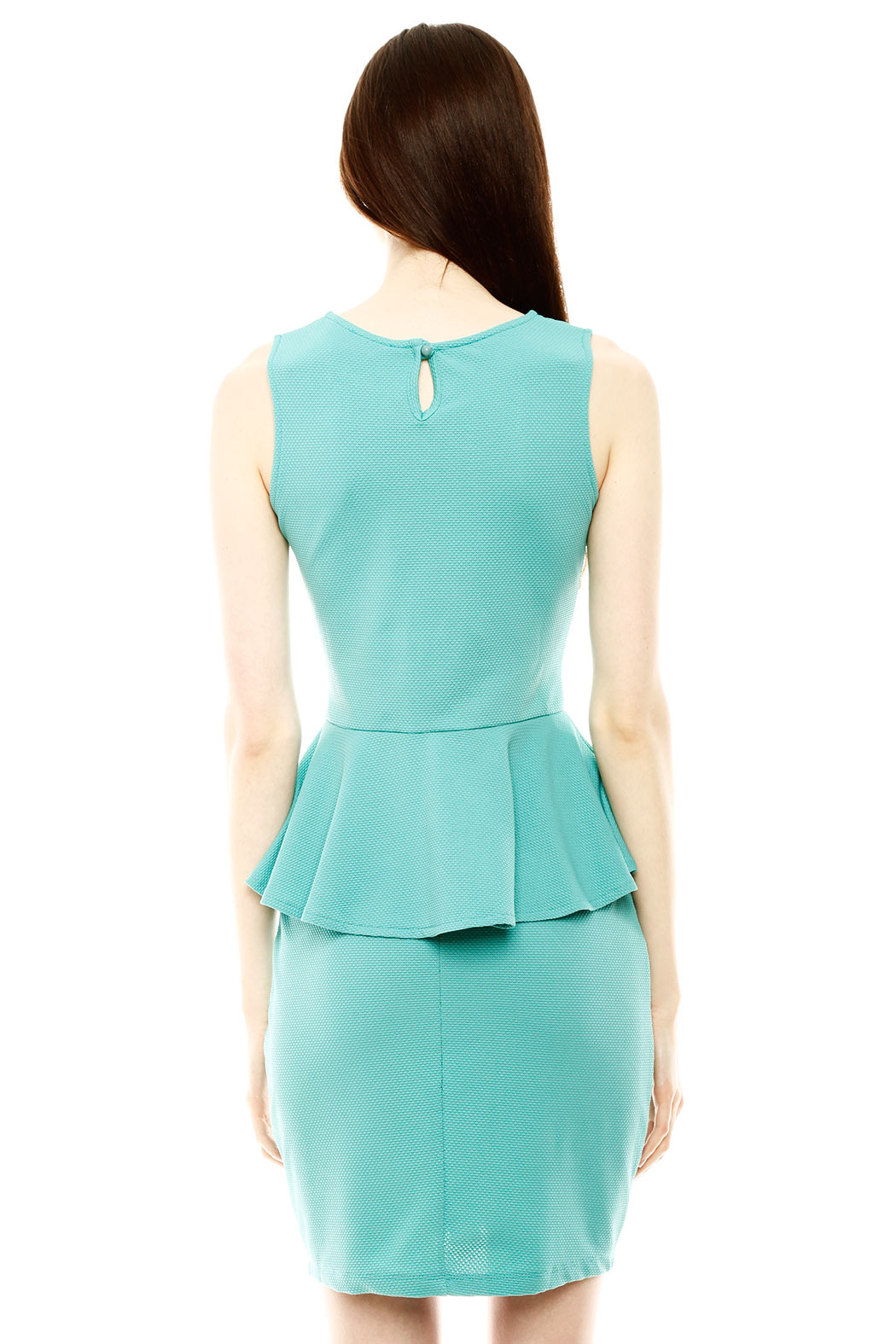 Isle Honeycomb Peplum Dress - Back Cropped Image