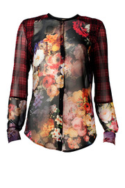 Bandolera Red Floral Blouse - Front full body