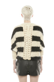 Shoptiques Product: Fuzzy Stripe Sweater - Back cropped