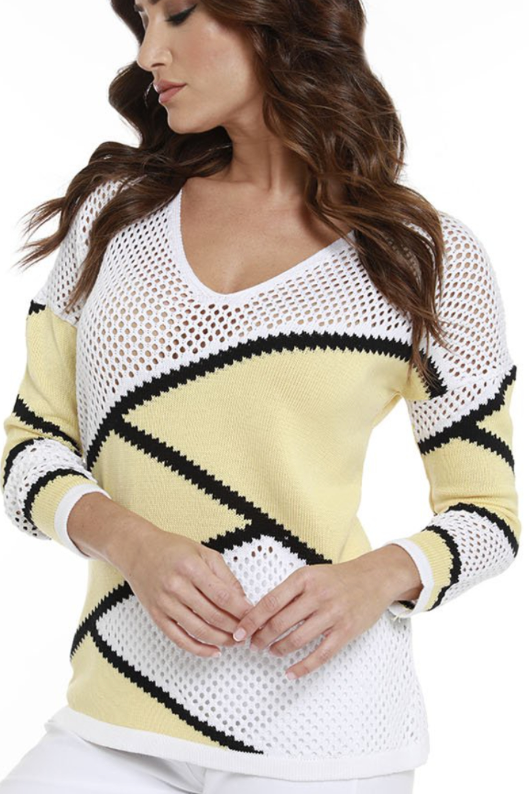 ANGEL DESIGN 8735 - Zig-Zag Netted Sweater - Front Cropped Image