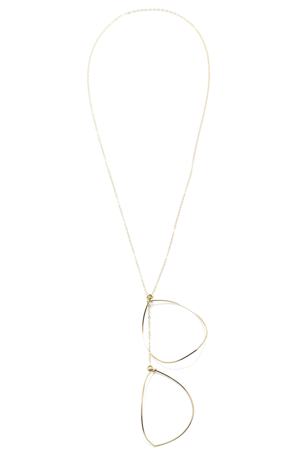 Zia Open Leaf Gold Lariat - Front Cropped Image
