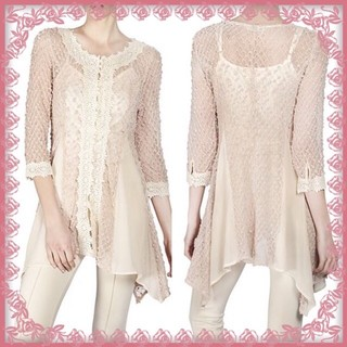 Shoptiques Peach Crochet Chiffon Top