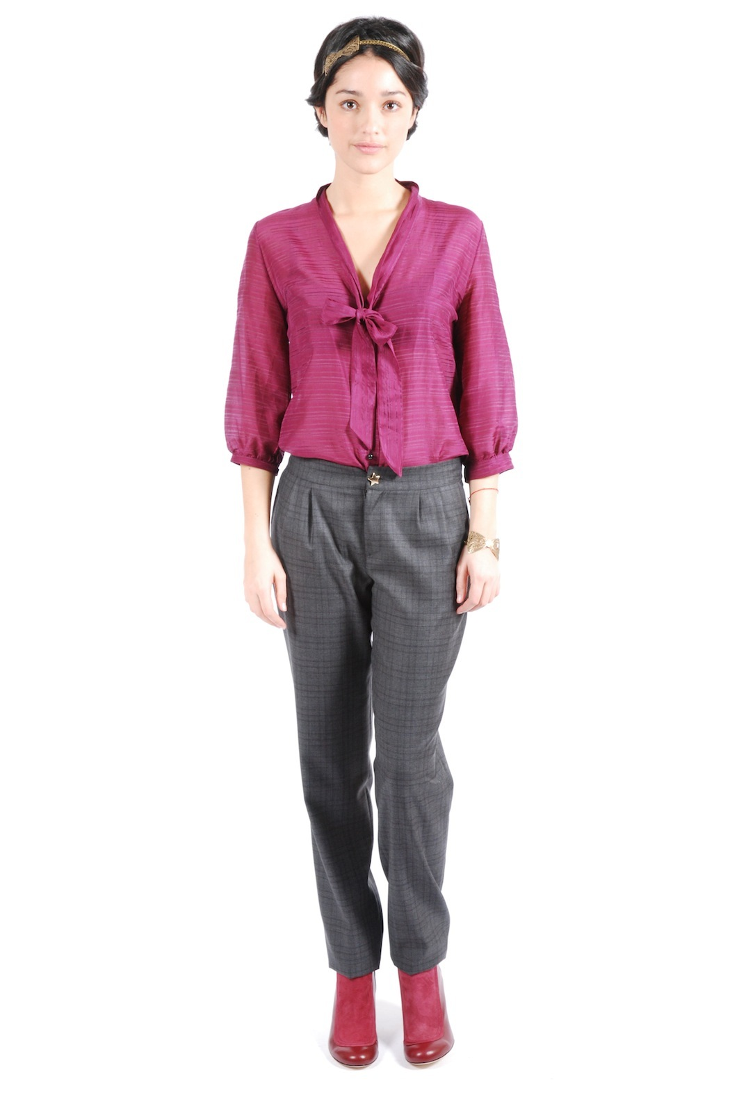 Phalaenopsis Pleated Cigarette Trousers - Front Full Image