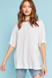 Project Social T #8983-156 Vintage White S/S Crew High-Low - Front cropped