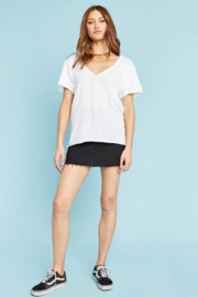 Project Social T #8991-YI Drop Shoulder V Neck Top White - Front cropped