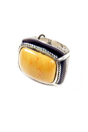 Shoptiques Product: Silver and Yellow Resin Ring