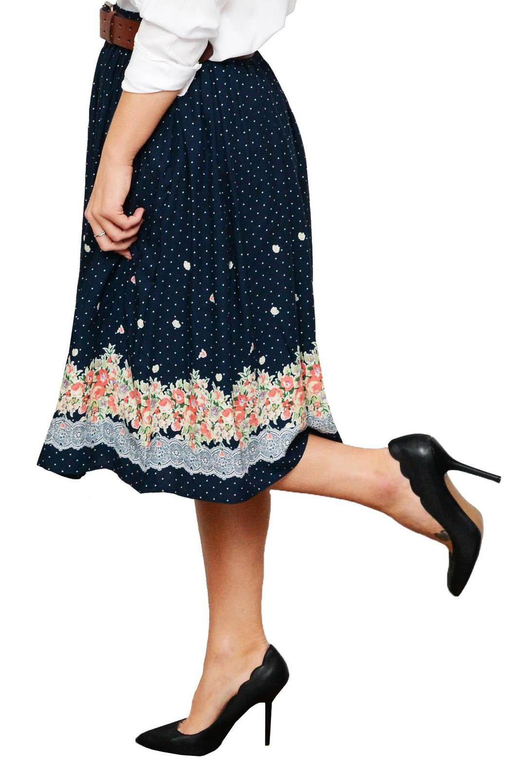 Comme Toi Floral Midi Skirt - Side Cropped Image