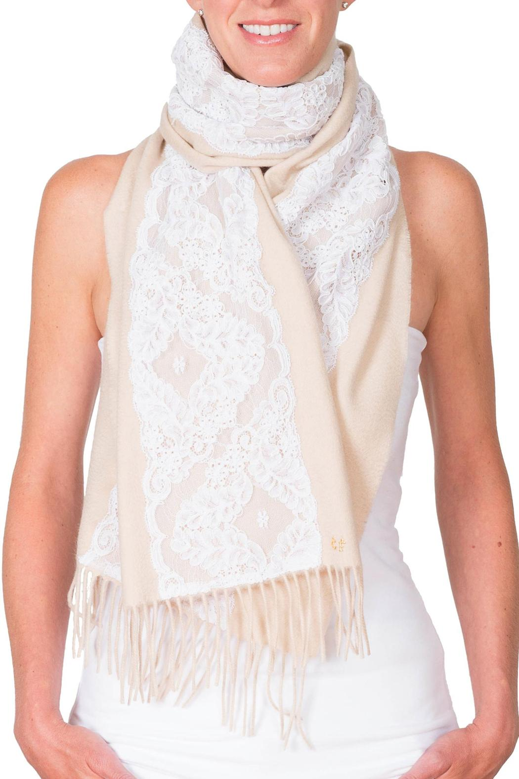 CLAIRE FLORENCE White Lace Travel Scarf - Side Cropped Image