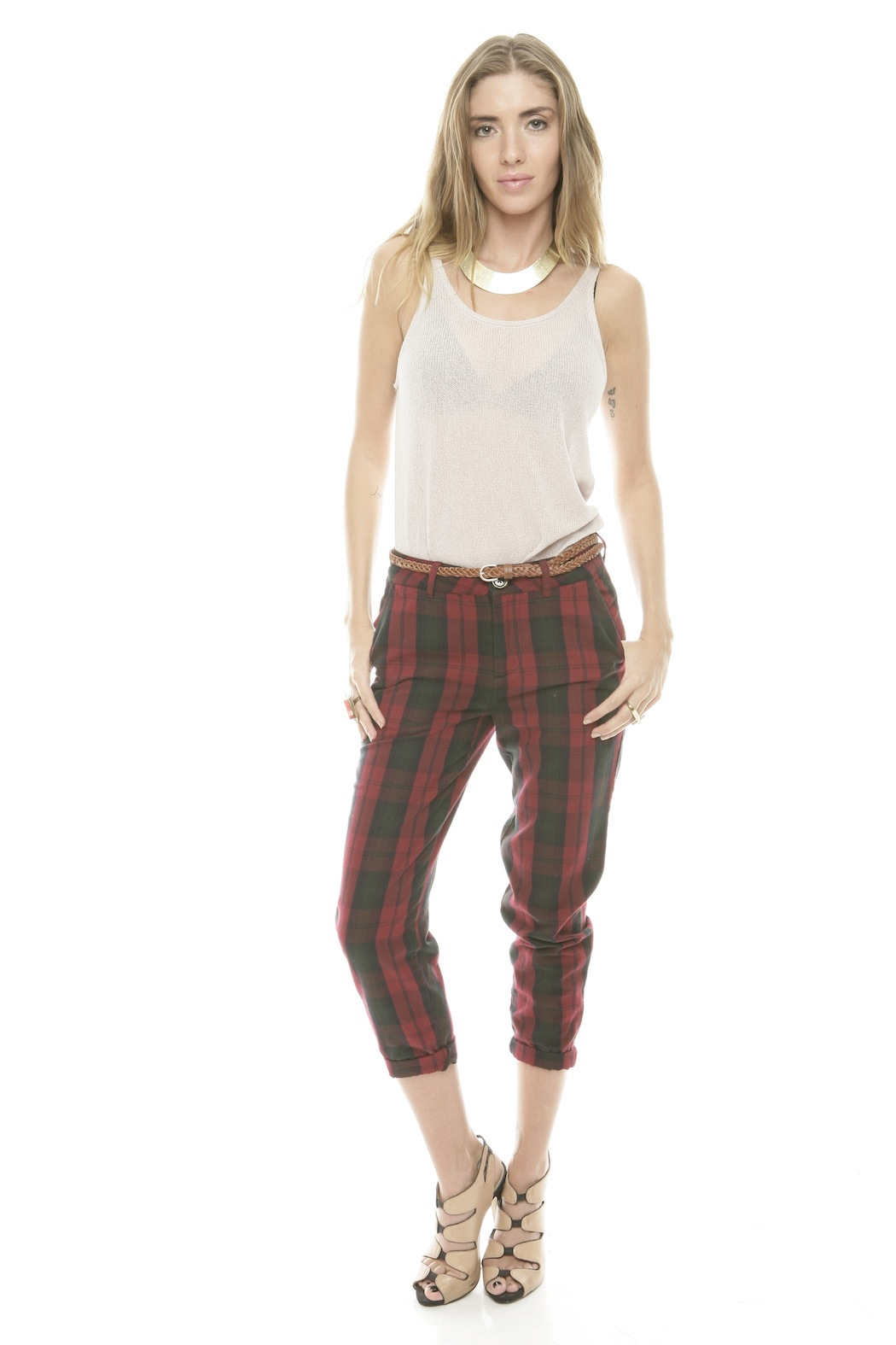 Rails Red Plaid Pants - Front Full Image