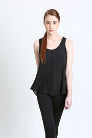 No Rest for Bridget Lace Embellished Tank - Front full body