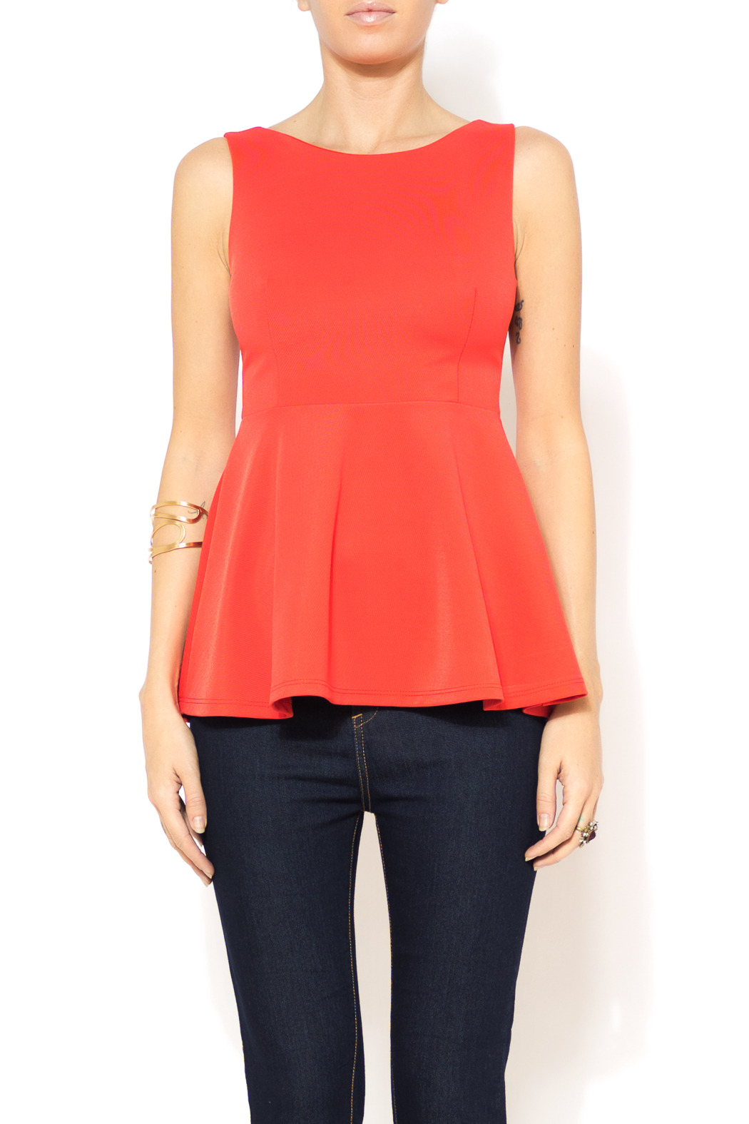 Nymphe Zip Back Peplum Top - Main Image