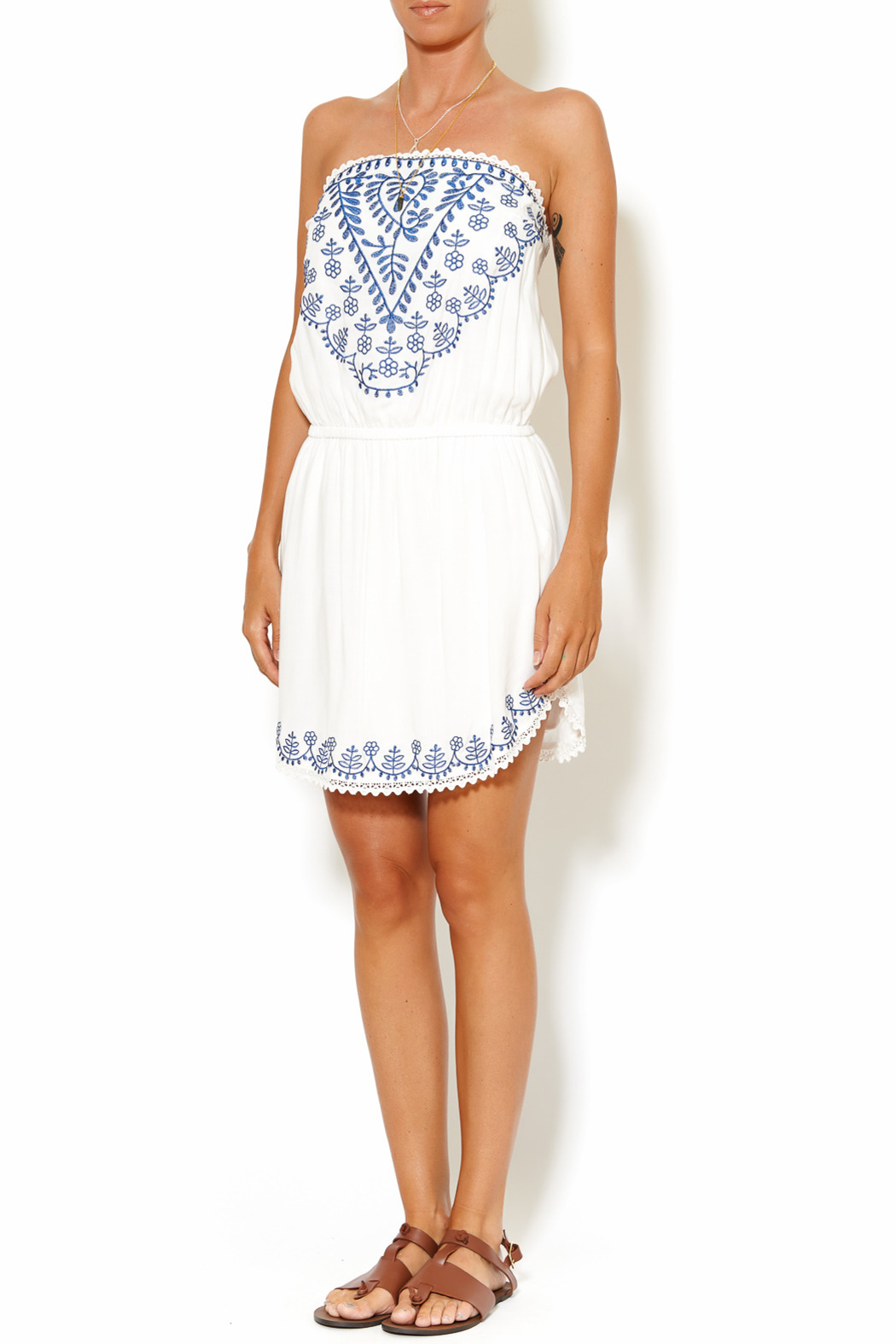 y&i clothing boutique Embroidered Tube Dress - Front Full Image
