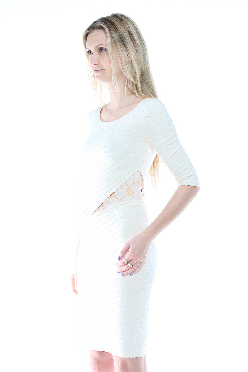 Torn by Ronny Kobo Knee-Length Knit Dress - Side Cropped Image