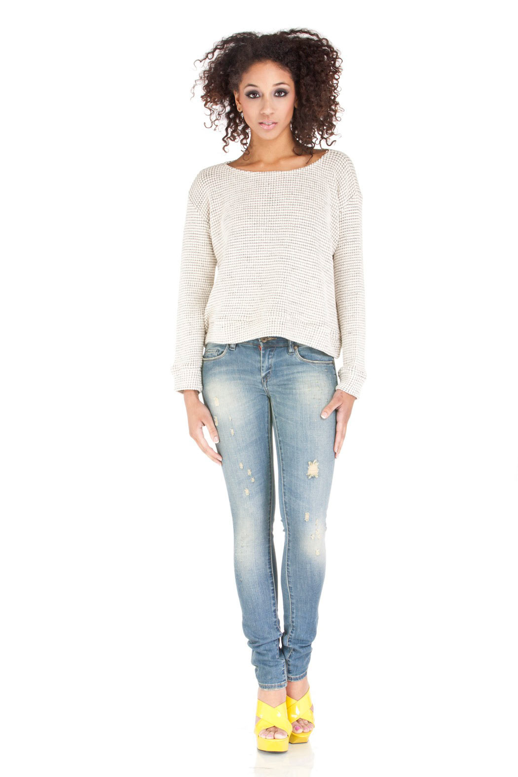 MYNE Scoop Neck Knit Sweater - Front Full Image