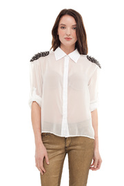 Shoptiques Product: Sheer Studded Button Down