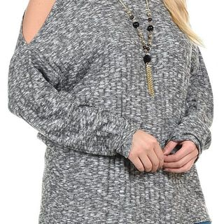 Shoptiques Product: Charcoal Marled Mock Neck Top
