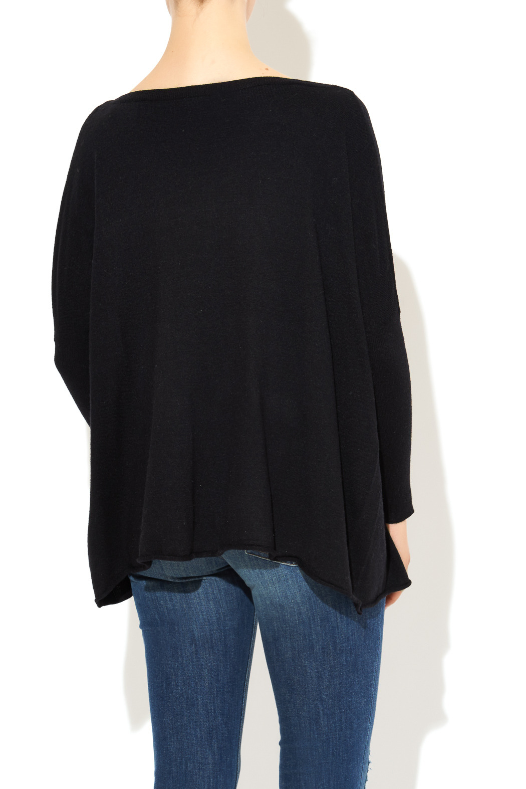 InStyle Black Dolman Sweater - Back Cropped Image