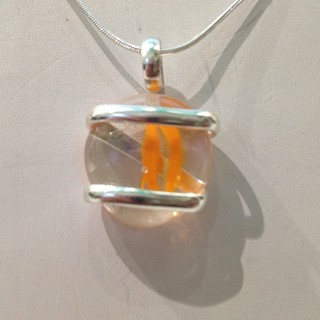 Shoptiques Product: Orange Swirl Pendant Necklace