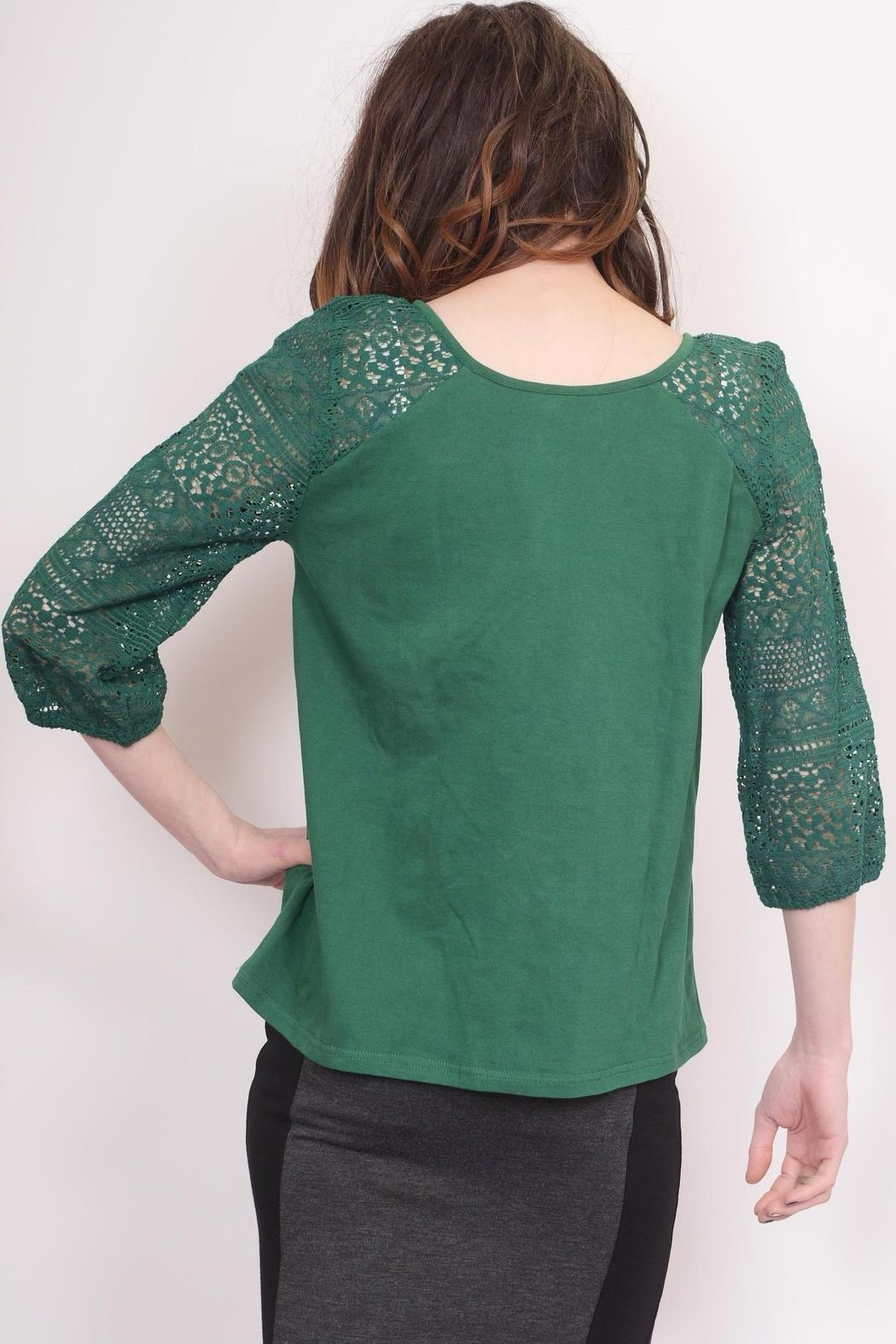 Schona Lace Sleeve Top - Back Cropped Image