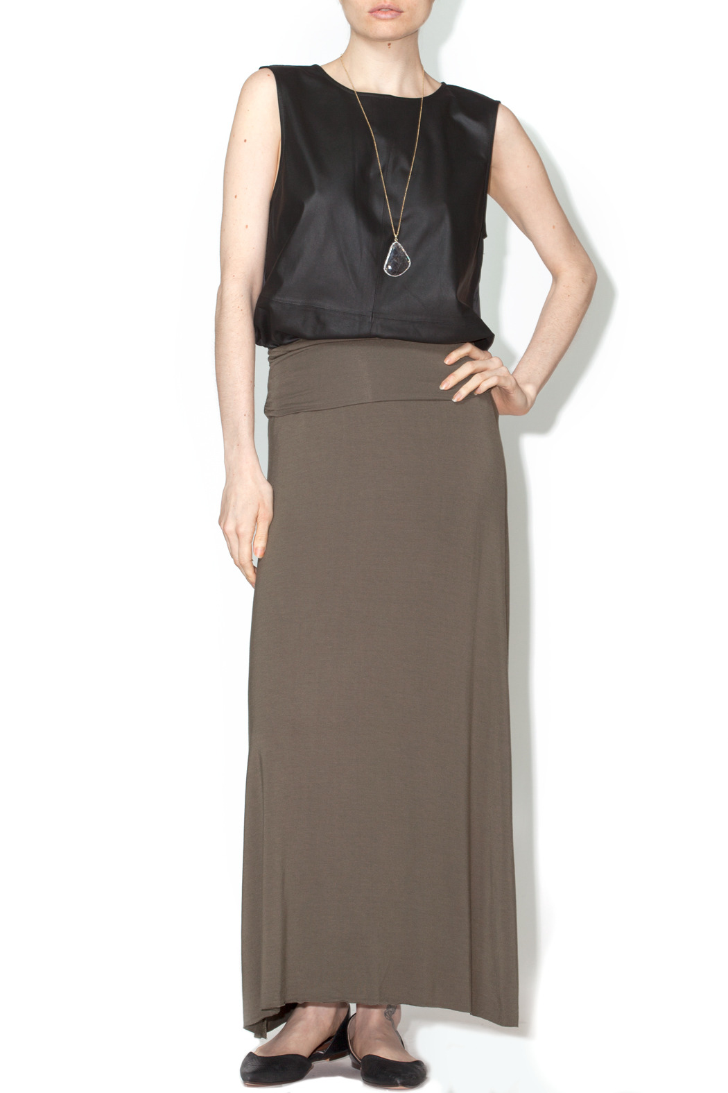 luxx knit olive maxi skirt from montana by sole