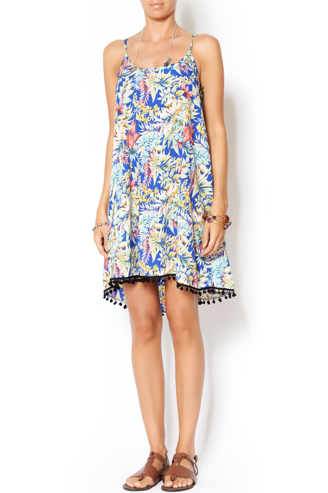 Pure Hype Tropical Pom Dress - Front Full Image