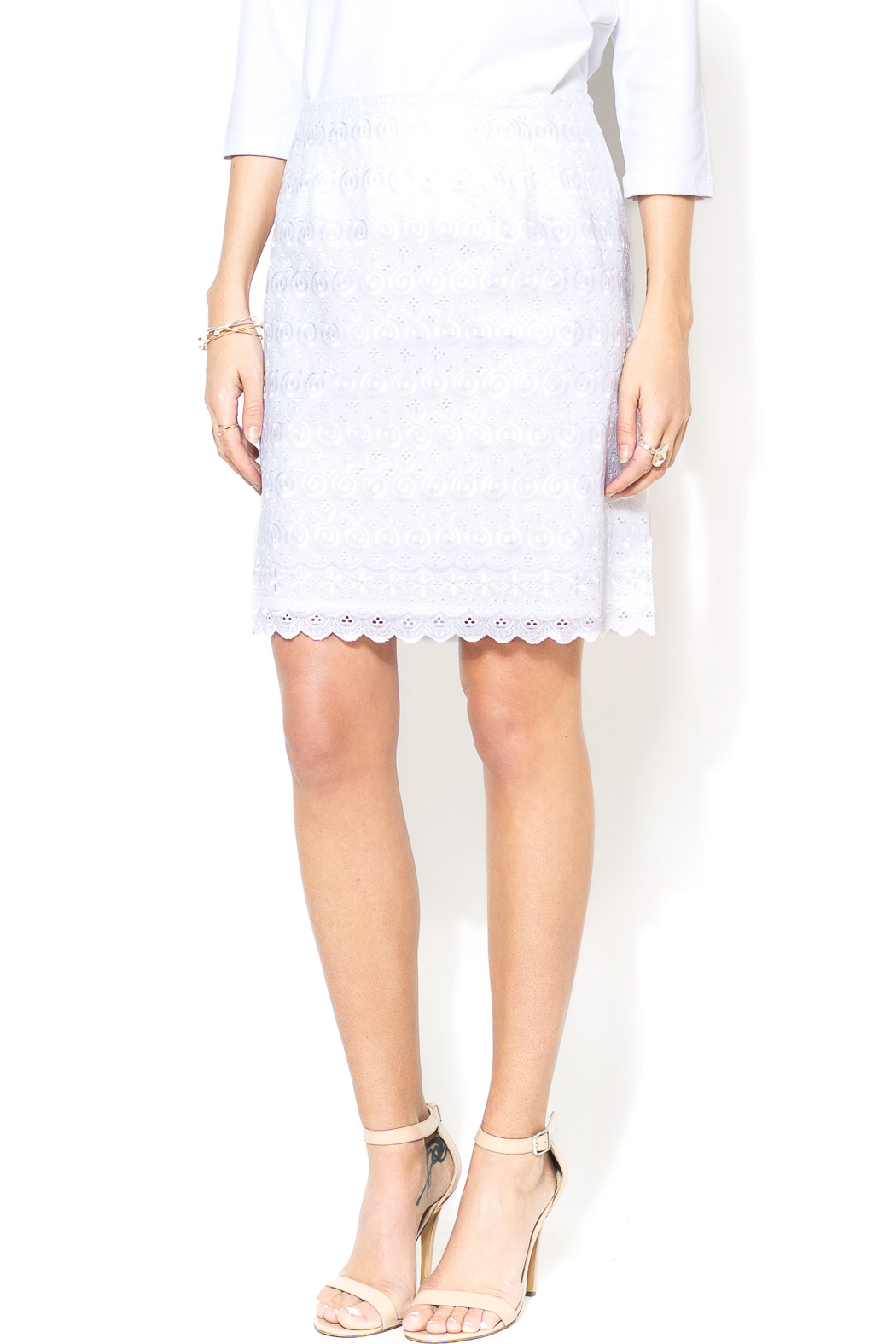STITCH Everyday Lace White Skirt - Front Cropped Image