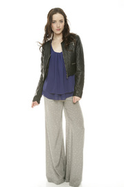 Members Only Cropped Moto Jacket - Front full body